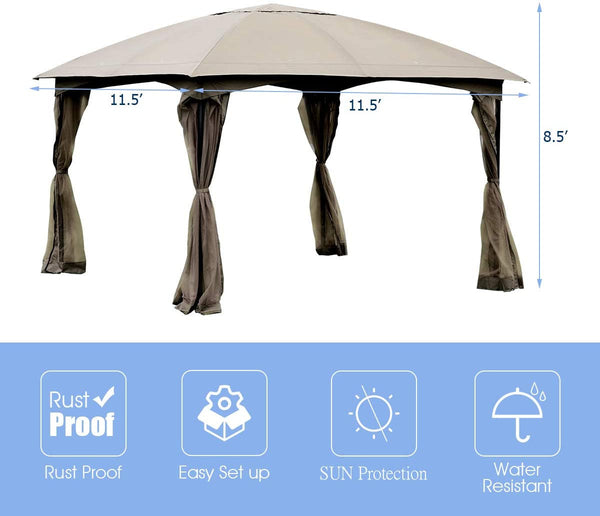 11.5' x 11.5' Fully Enclosed Outdoor Gazebo with Removable 4 Walls