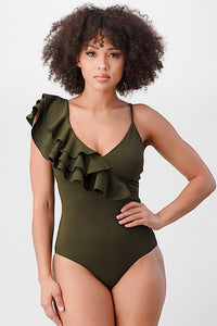 Techno Crepe Ruffle Bodysuit with Bottom Button Snap