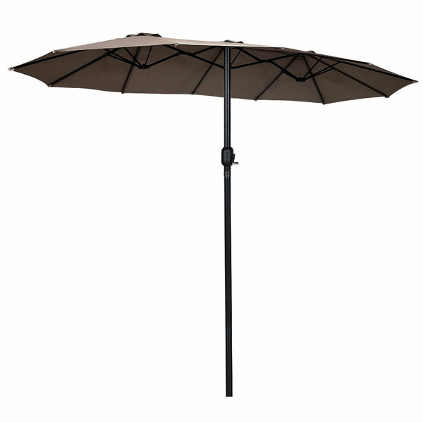 15' Twin Patio Umbrella Double-Sided Outdoor Market Umbrella without Base