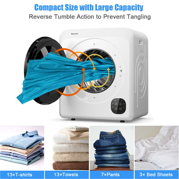 1700W Electric Tumble Laundry Dryer Steel Tub 13.2 lbs/3.22 Cu.Ft