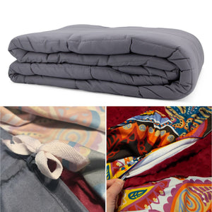 20lb Weighted Blanket, Removable Duvet Cover, Case - Queen Size
