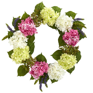 "23"" Hydrangea Artificial Wreath"