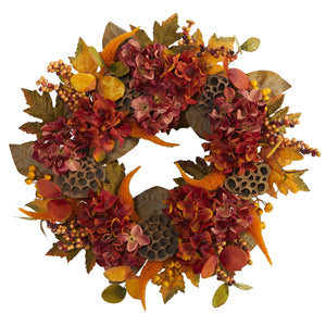 "24"" Fall Hydrangea, Lotus and Berries Artificial Wreath"
