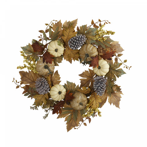 "24"" Fall Pumpkins, Pine Cones and Berries Artificial Wreath"