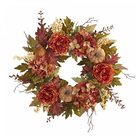 "24"" Peony, Hydrangea and Pumpkin Fall Artificial Wreath"