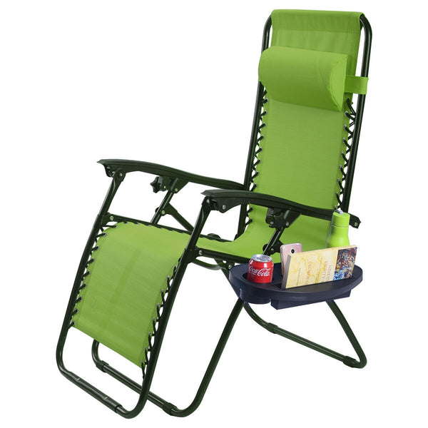 2 Pcs Folding Lounge Chair with Zero Gravity