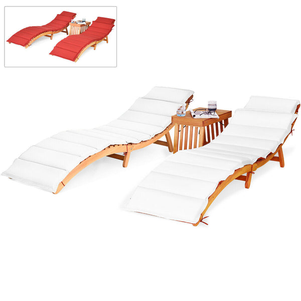 3PCS Wooden Folding Patio Lounge Chair Table Set