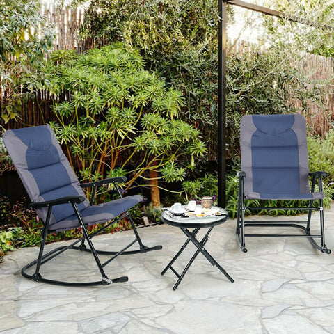 3 Pcs Outdoor Folding Rocking Chair Table Set