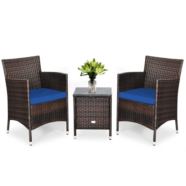 3 Pcs Patio Furniture Set Outdoor Wicker Rattan Set