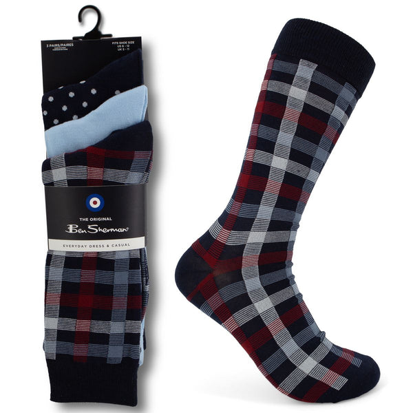 3pk Men's Ben Sherman Original Crew Socks - Dress and Casual