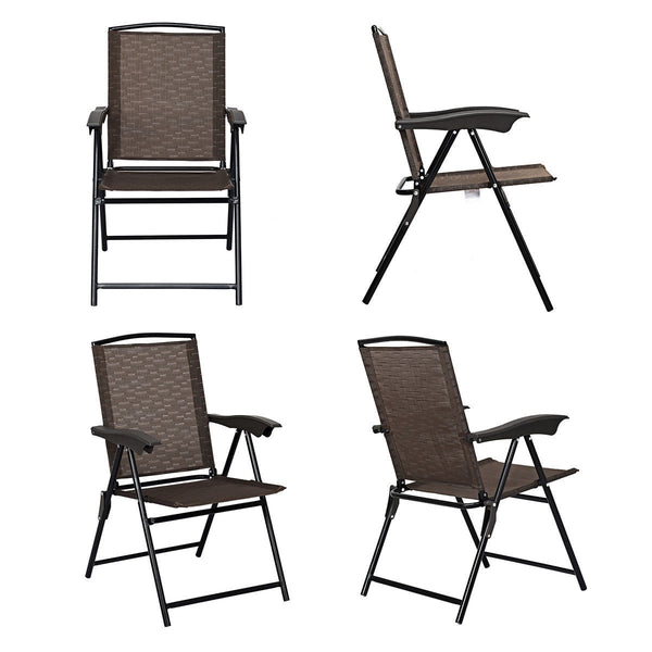4 Pcs Folding Sling Chairs with Steel Armrest and Adjustable Back
