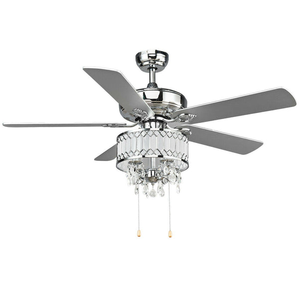 52  Crystal Ceiling Fan Lamp w/ 5 Reversible Blades