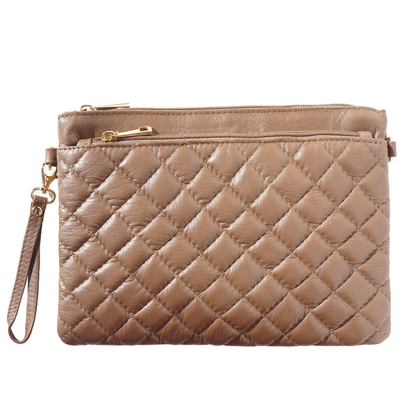 Wristlet made with quilted calf leather