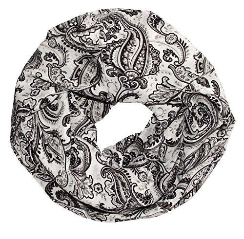Womens Boho Floral Paisley Sheer Infinity Scarf