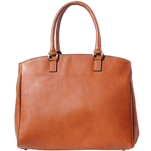 Shoulder tote bag in smooth leather