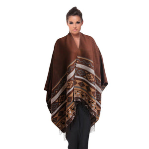 Brown Aztec Print Shawl Scarf