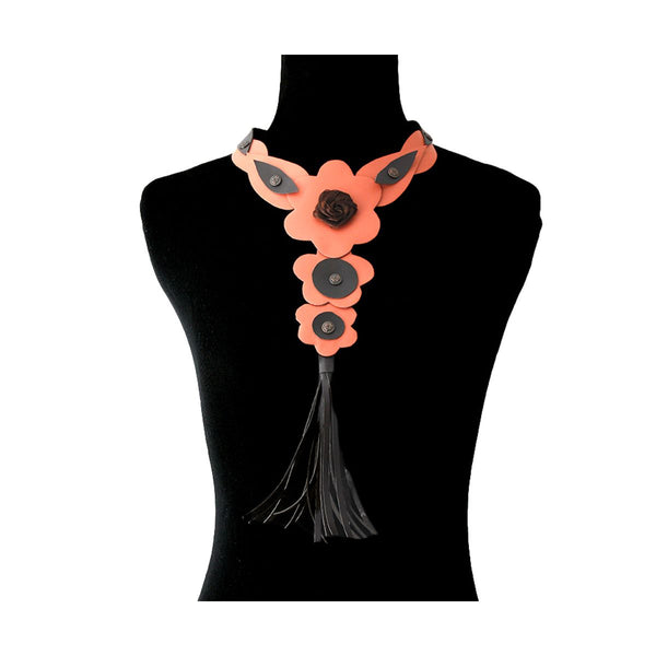 Coral Leather Rose and Tassel Choker Necklace