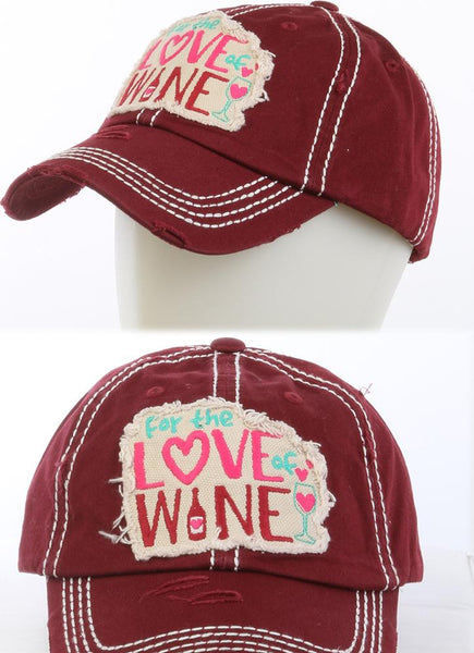 For The Love Of Wine Distressed Hat - Burgundy