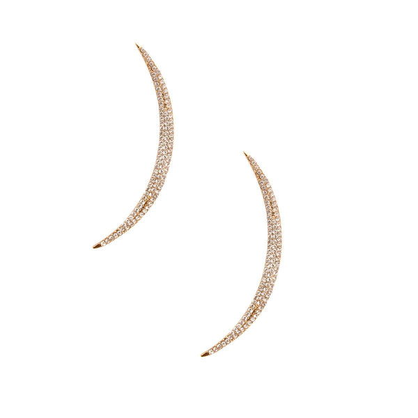 Gold and Clear Curved Bar Earrings