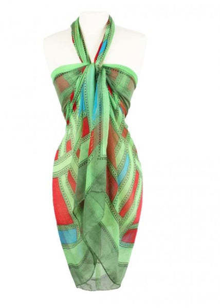 Rectangle Multi Color Wide Beach Wrap Scarf