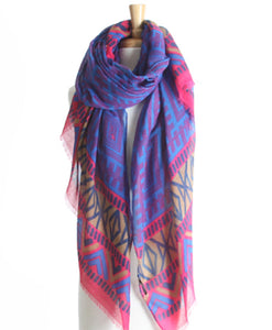 Purple Geometric Pareo Print Beach Hawaiian Sarong Wrap & Scarf