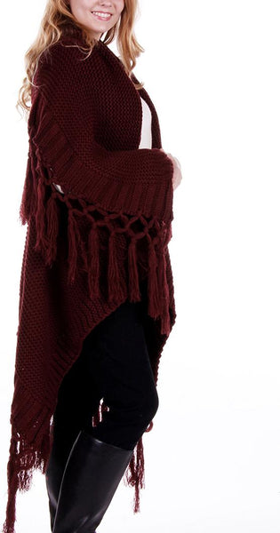 Knitted Cape Tassel Poncho - Red