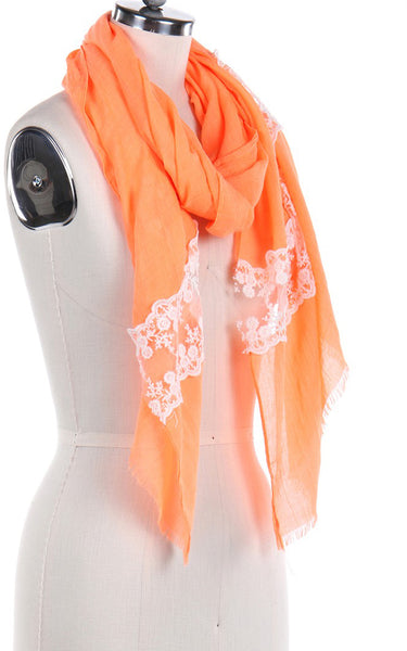 Lace Trim Sheer Scarf - Orange