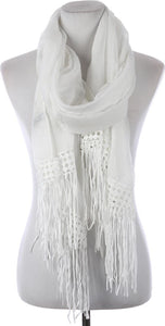 White Lace Trim Fringe Scarf