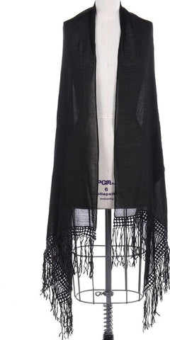 Black Lace Trim Fringe Scarf