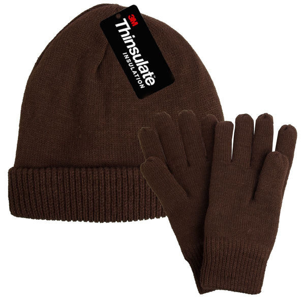 Men's Insulated Hat and Gloves Set - Soft Knit and Fleece Lining