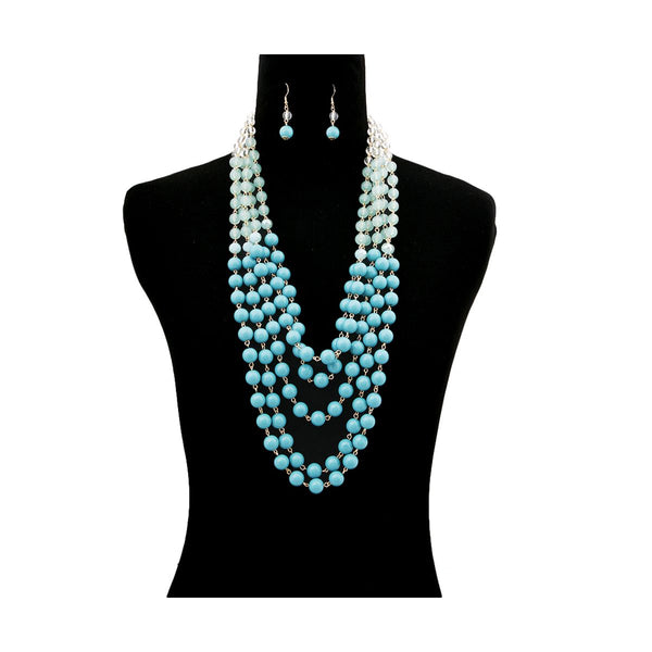 Ombre Turquoise Bead Multi Strand Layered Necklace Set