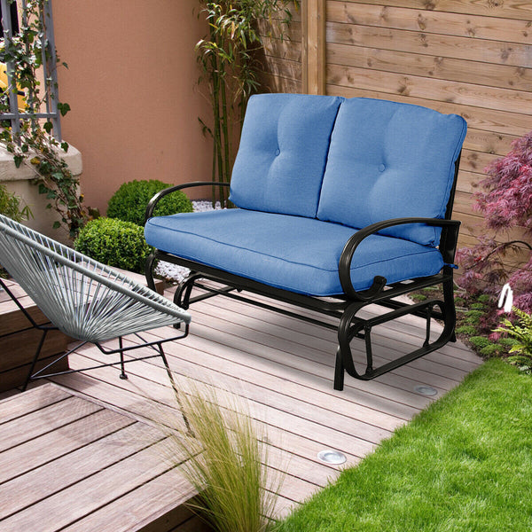 Outdoor Patio Cushioned Rocking Bench Loveseat