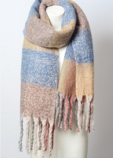 Peach Mixed Plaid Scarf