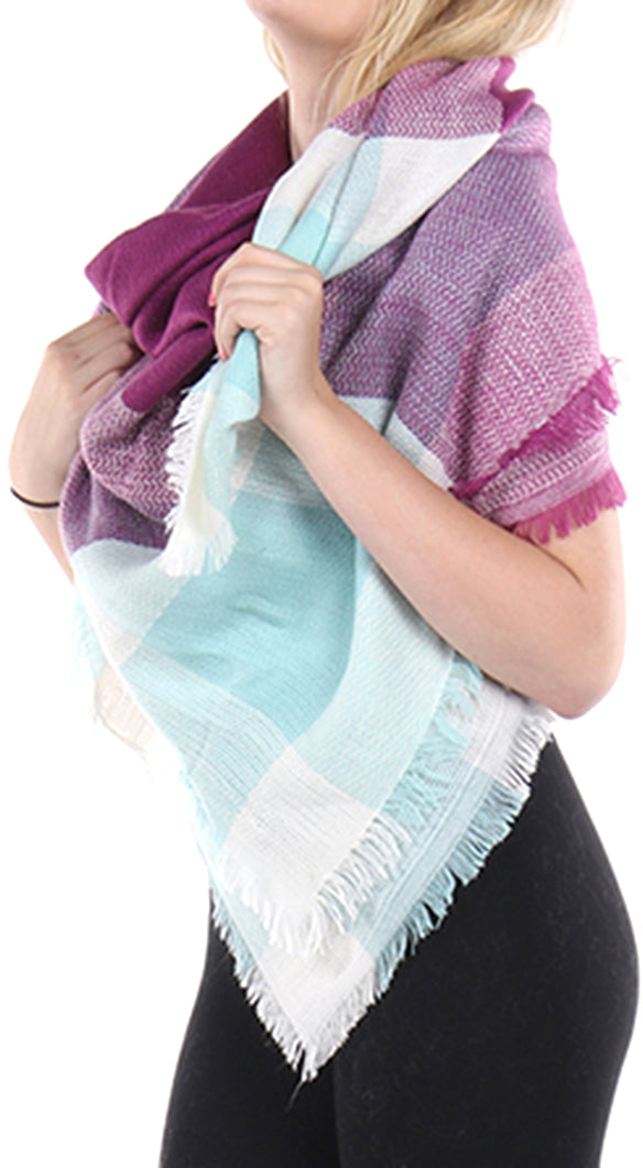 Pink and Blue Checkered Soft Knit Shawl Scarf