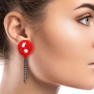 Red Balloon Bead Earrings