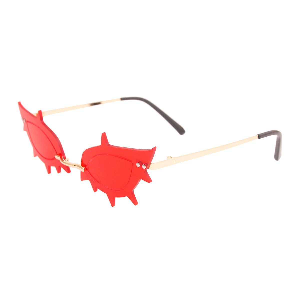 Red Rimless Spike Sunglasses