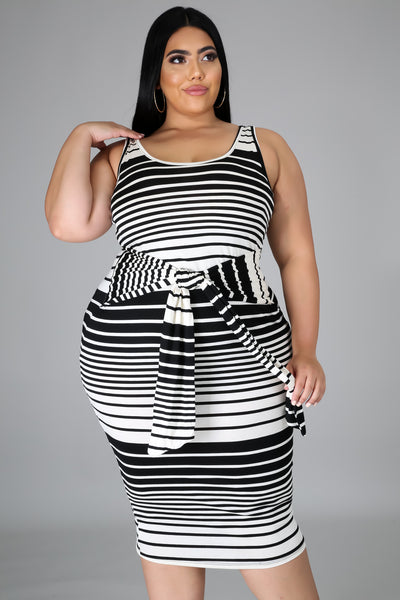 Black Stripe Tie Dress