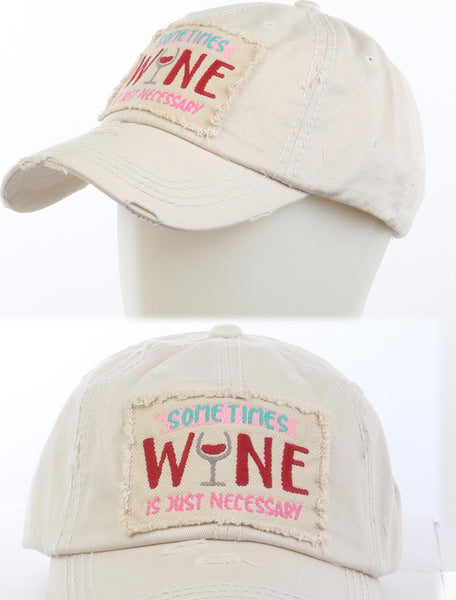 Sometimes Wine Distressed Hat - Beige