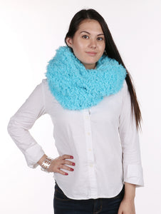 Soft Fur Twisted Infinity Neckwarmer Scarf - Aqua Blue