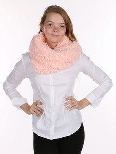 Soft Fur Twisted Infinity Neckwarmer Scarf - Pink