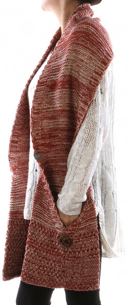 Red Knit Pocketed Scarf