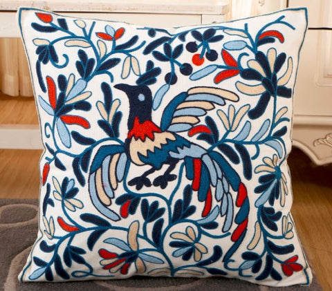 Blue Orange Tan White Bird Design Embroidered Canvas Pillow Covers 17.7 x 17.7 ""