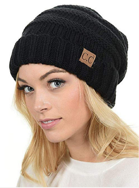 Women's C.C. Oversized Baggy Slouch Thick Warm Cap Hat Skully Cable Knit Beanie  (HAT-100)