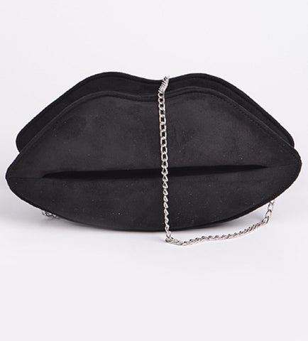 Women's Black Faux Suede Lips Design Evening Clutch Purse Crossbody Bag Banquet Handbag