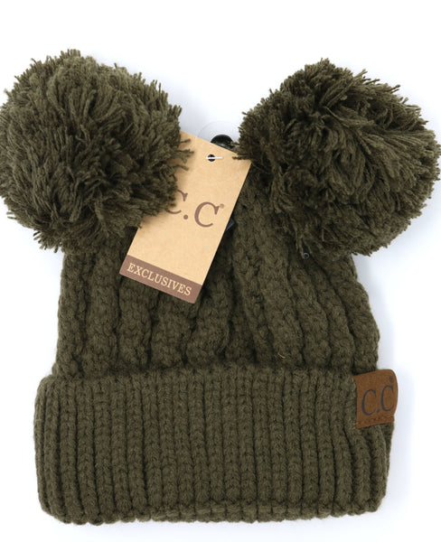 Solid Double Pom CC Beanie Olive