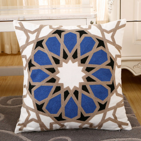 Set of 2 Blue While Tan Embroidered Canvas Pillow Covers For Sofa Or Bedroom
