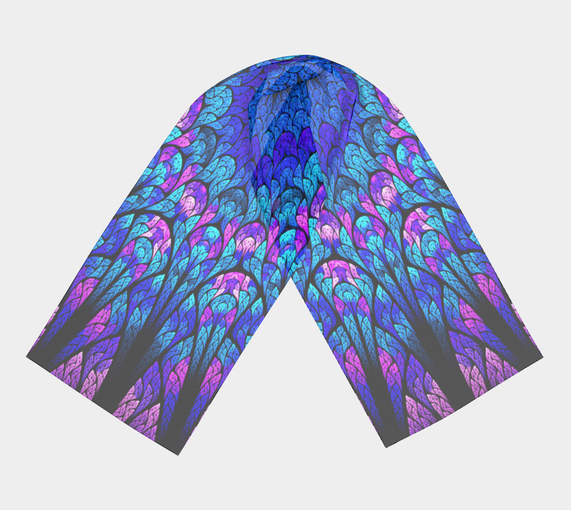 "Blue Pink and Black Kaleidoscope Scarf 10"" x 45 """