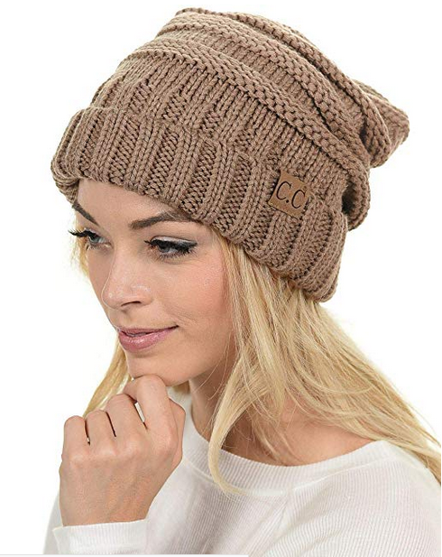 Womens Oversized Baggy Thick Warm Cap Hat Skully Cable Knit Slouchy Beanie