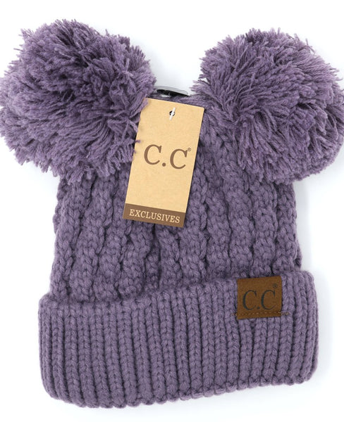 Solid Double Pom CC Beanie Violet