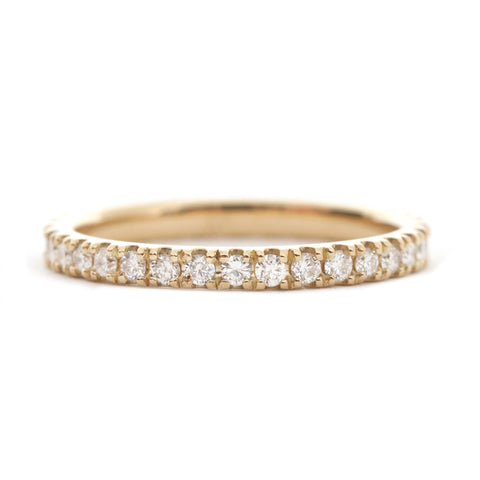 Yellow Gold Diamond Eternity Band 2mm